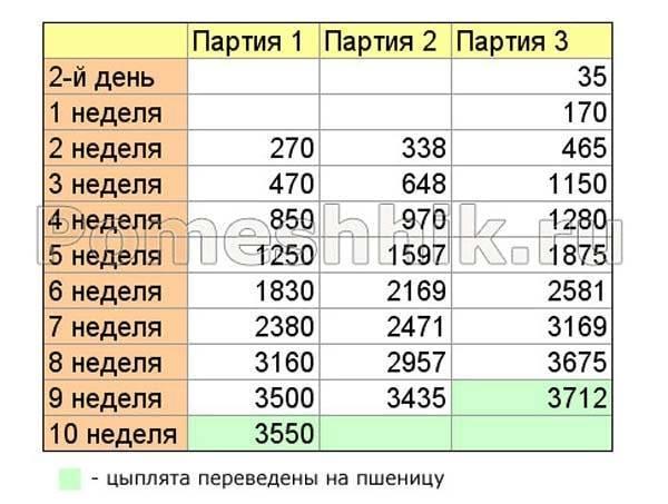 Вес бройлеров по дням таблица и факторы