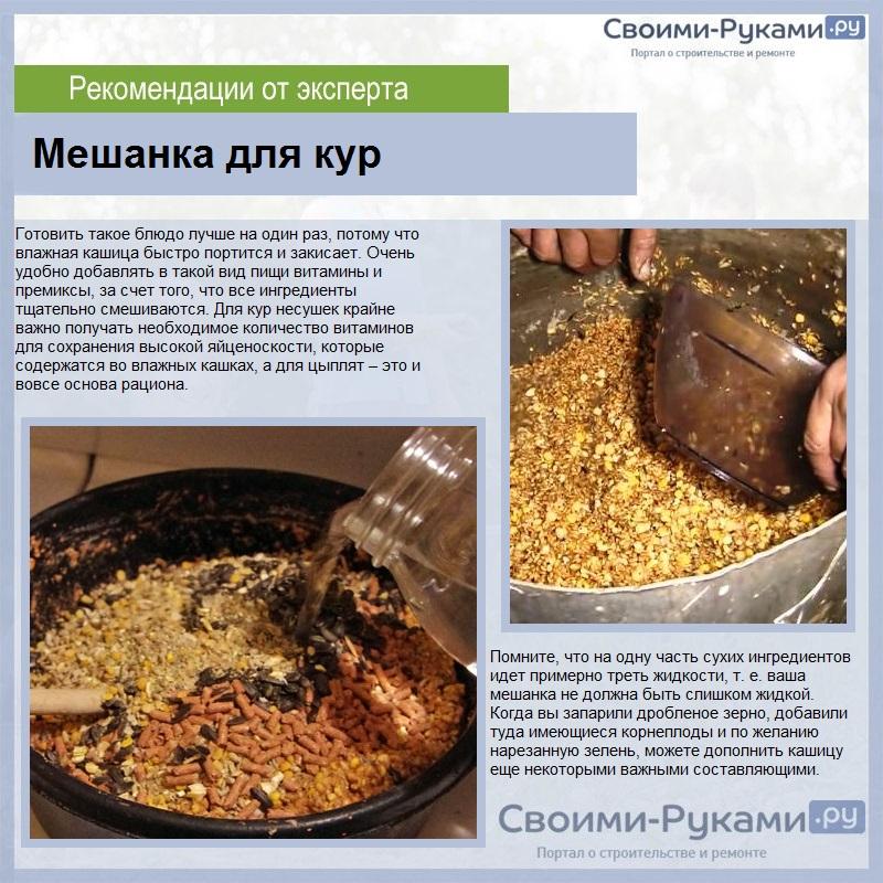 Приготовление мешанки для кур и цыплят